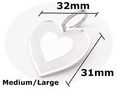 Pet ID Tag Personalised Engraved Polished Stainless Steel Hearts Dog Cat PawGear