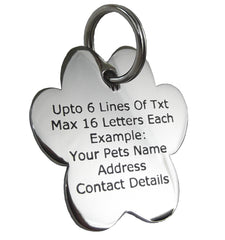Pet ID Tags Personalised Engraved Polished Stainless Steel Paw Dog Cat Coloured