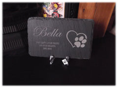 Memorial Plaque Personalised Engraved Natural Slate Heart/Paw Pet Grave Marker