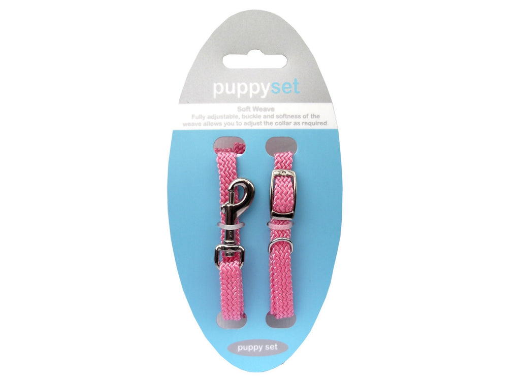 Puppy and Small Dog Collar and Lead Set in Pink, Soft and Fully Adjustable