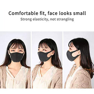 6 Pack Fashion Unisex Washable Reusable Anti-Dust Protective Sponge Face Masks, Black and Gray