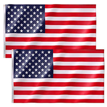 Load image into Gallery viewer, 2 Pack American Flag 3x5 FT Premium Nylon US Flags with Bright Vibrant Color and Brass Grommets for Indoors and Outdoors (2xBreeze Style)