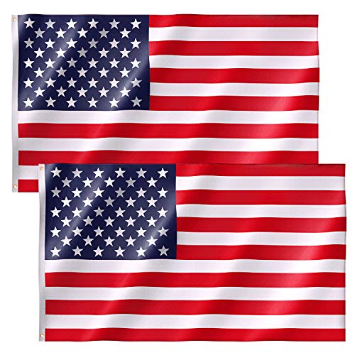 2 Pack American Flag 3x5 FT Premium Nylon US Flags with Bright Vibrant Color and Brass Grommets for Indoors and Outdoors (2xBreeze Style)