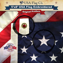 Load image into Gallery viewer, Large 5x8 FT Made in USA American Flag by USA Flag Co. The Best 5x8 Embroidered Stars and Sewn Stripes Amerian Flag