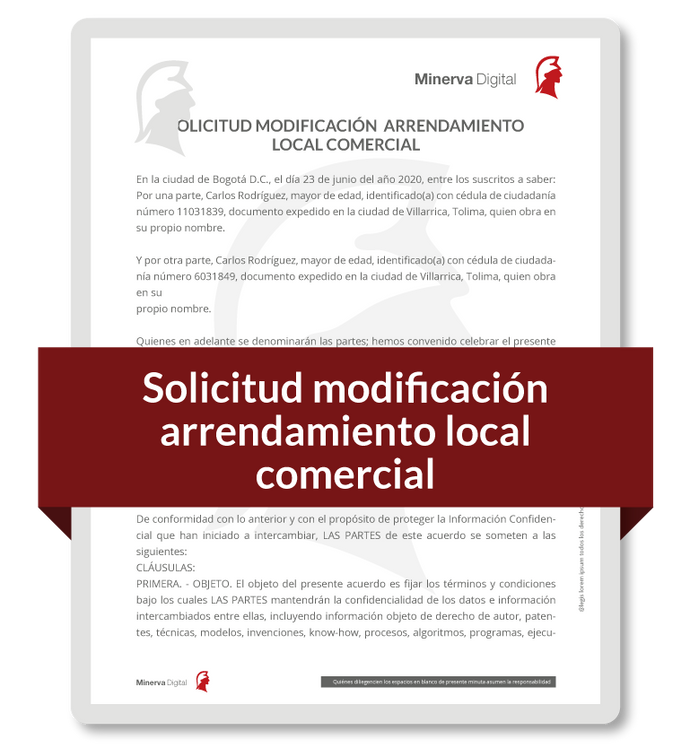 Solicitud modificación Arrendamiento Local Comercial