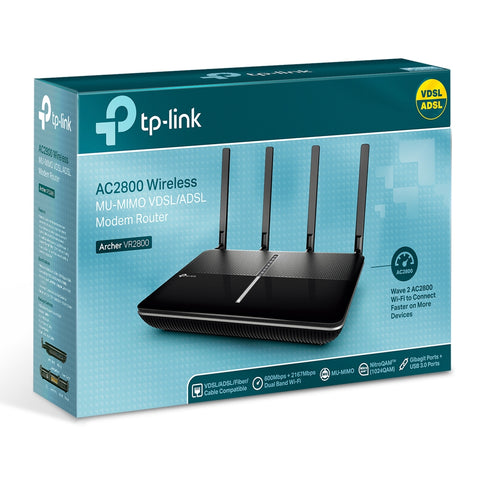 TP - LINK Archer VR2AC2800 Wireless MU-MIMO VDSL/ADSL Modem Router 800 The Fastest VDSL Modem Router – The Archer VR2800 runs at 2167Mbps on 5GHz and 600Mbps on 2.4GHz 1GHz dual-core CPU – Broadcom 1GHz dual-core CPU with two co-processors keeps VR2800 running at peak performance TP-Link Tether App – TP-Link Tether app helps you set up and manage your Archer VR2800 from any Android or iOS device.