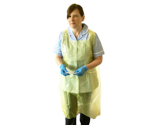 Disposable Polythene Apron in Yellow - 1 x Carton of 1000 pcs
