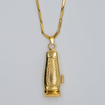 BX BARBER CLIPPER NECKLACE W/ CHAIN - 18K GOLD PLATED
