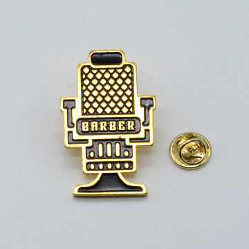 BX LAPEL PIN BARBER CHAIR - Gold