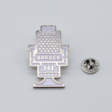 BX LAPEL PIN BARBER CHAIR - SILVER
