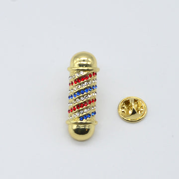 LAPEL PIN CLASSIC POLE W/ STONE - GOLD