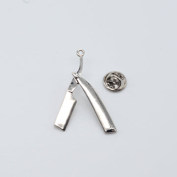 LAPEL PIN STRAIGHT RAZOR - SILVER