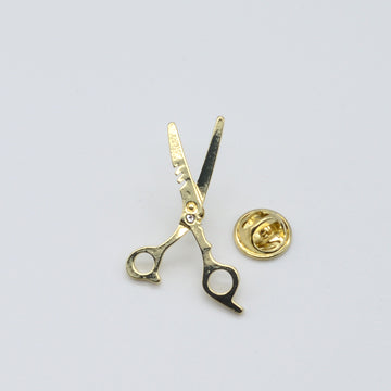 LAPEL PIN BARBER SHEARS - GOLD