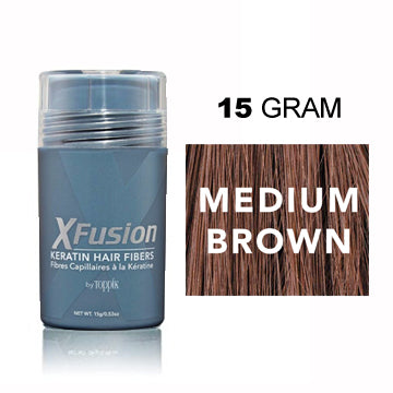 XFUSION KERATIN HAIR FIBER MEDIUM BROWN 15G.