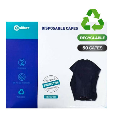 DISPOSABLE CAPES - BLACK 50 CAPES/PK