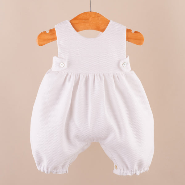 Long Leg Baby Romper | White Collection
