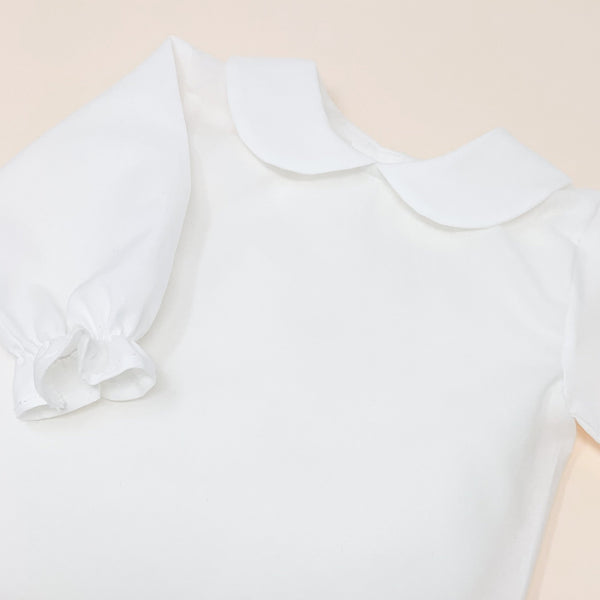 Baby frill collar blouse W/ lace detail