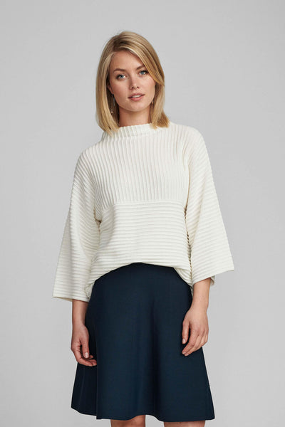 Numph 700287 Nuirmelin O-Neck Pullover Jumper Cloud Dancer 9001 Cream - Shirley Allum#colour_cloud-dancer-9001-cream
