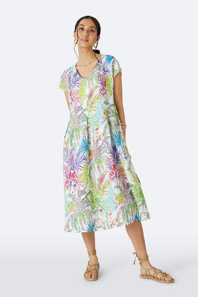 Sahara GRD3016-CJL Multicolour Chalk Jungle Linen Dress - Shirley Allen