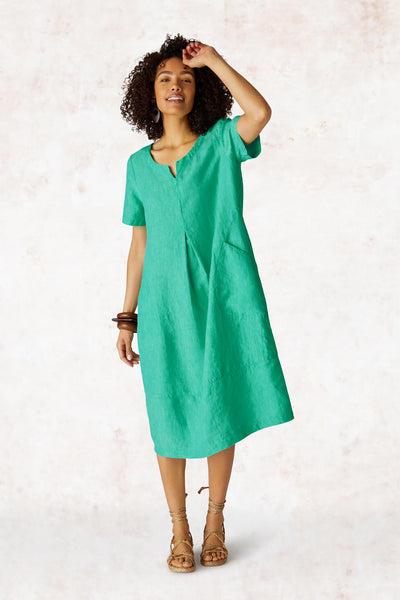 Sahara LAD360A-NCD Mint Cross Dye Linen Bubble Dress - Shirley Allum