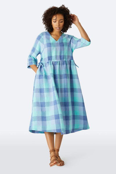 Sahara LAD4145-PCL Blue Marine Check Linen Buffet Dress - Shirley Allum