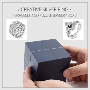 Creative Silver Ring, Bracelet And Puzzle Jewelry Box
