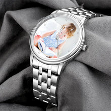 Load image into Gallery viewer, Engraved Men's Silver Alloy Bracelet Photo Watch 40mm