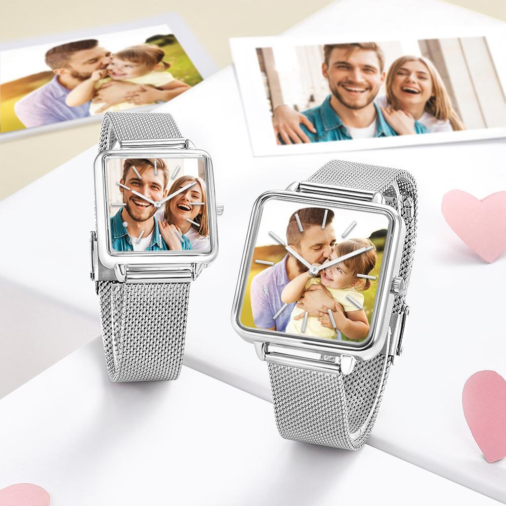 Custom Couple Watch Engraved Photo Watch - Silver Square Case Watch