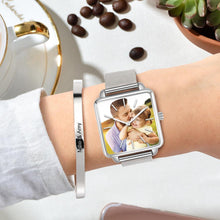 Load image into Gallery viewer, Custom Couple Watch Engraved Photo Watch - Silver Square Case Watch