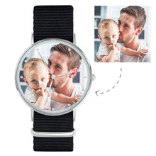 Load image into Gallery viewer, Personalized Engraved Watch, Custom Your Own Photo Watch With Black Strap