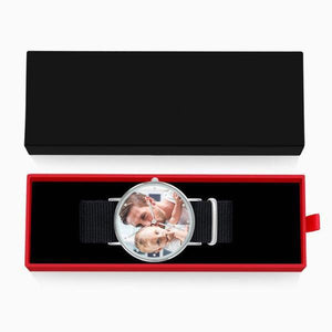 Personalized Engraved Watch, Custom Your Own Photo Watch With Black Strap