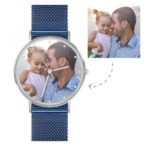 Father's Gift - Personalized Engraved Watch, Custom Your Own Photo Watch with Red Strap