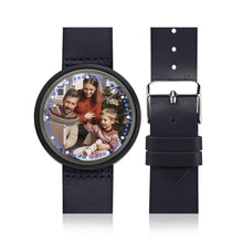 Load image into Gallery viewer, Personalized Photo Watch Touch Illuminated Watch LED Blue Leather Strap