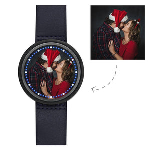 Personalized Photo Watch Touch Illuminated Watch Blue Leather Strap Couple's Gift