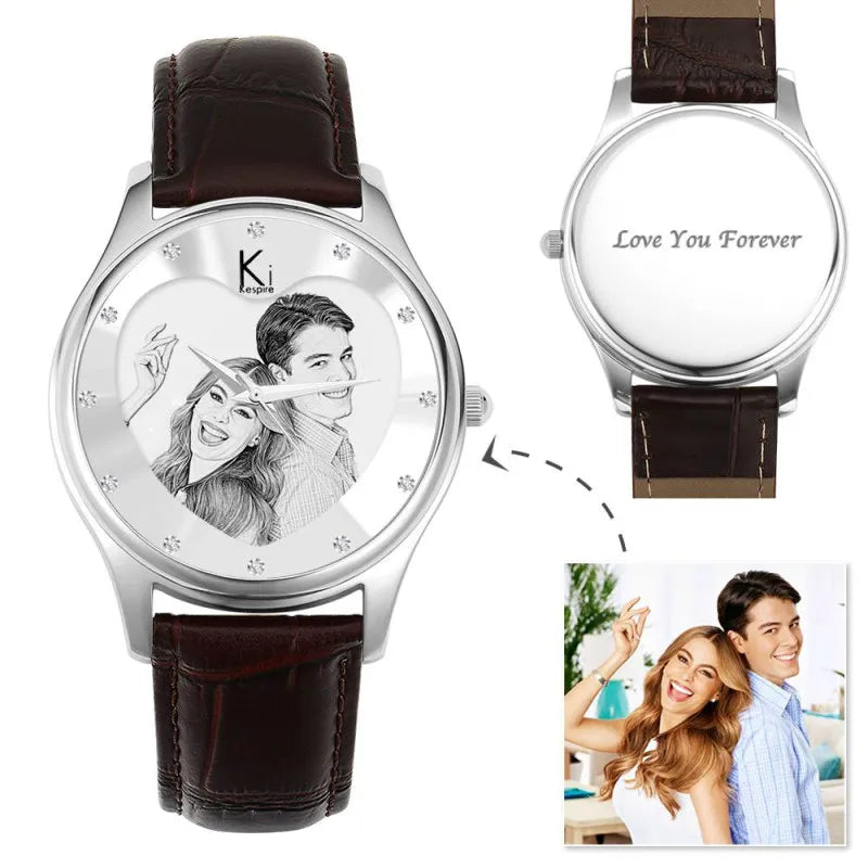 Men's Engraved Photo Watch 43mm Brown Leather Strap- Sketch