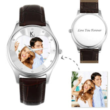 Load image into Gallery viewer, Men's Engraved Photo Watch 43mm Brown Leather Strap