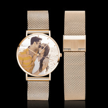 Load image into Gallery viewer, Men's Engraved Rose Gold Alloy Bracelet Photo Watch 40mm