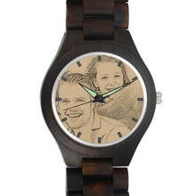 Load image into Gallery viewer, Men's Engraved Wooden Photo Watch All Black Ebony 45mm