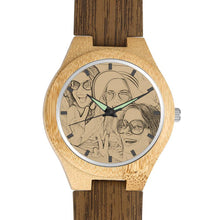 Load image into Gallery viewer, Men's Engraved Bamboo Photo Watch Wooden Leather Strap 45mm