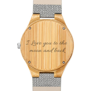 Men's Engraved Bamboo Photo Watch Grey Leather Strap 45mm