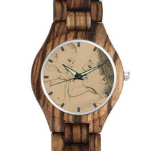 Load image into Gallery viewer, Men's Engraved Wooden Photo Watch Wooden Strap 45mm