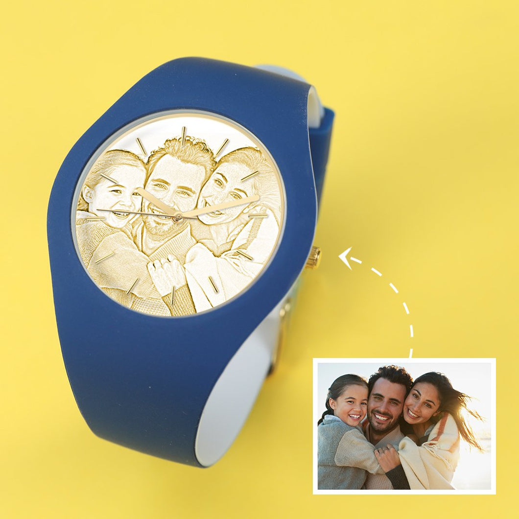 Waterproof Silicone Unisex Engraved Photo Watch 41mm Blue And White Bands-Golden