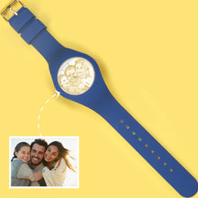 Load image into Gallery viewer, Waterproof Silicone Unisex Engraved Photo Watch 41mm Blue And White Bands-Golden