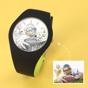 Unisex Silicone Engraved Photo Watch 41mm Black And Green Strap-Sketch