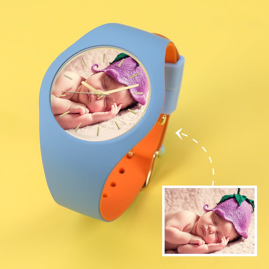 Waterproof Silicone Engraved Photo Watch 41mm Orange And Blue Bands for men women kids