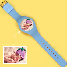 Load image into Gallery viewer, Waterproof Silicone Engraved Photo Watch 41mm Orange And Blue Bands for men women kids