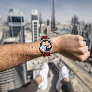 Personalized Engraved Watch, Custom Your Own Photo Watch With Red Strap