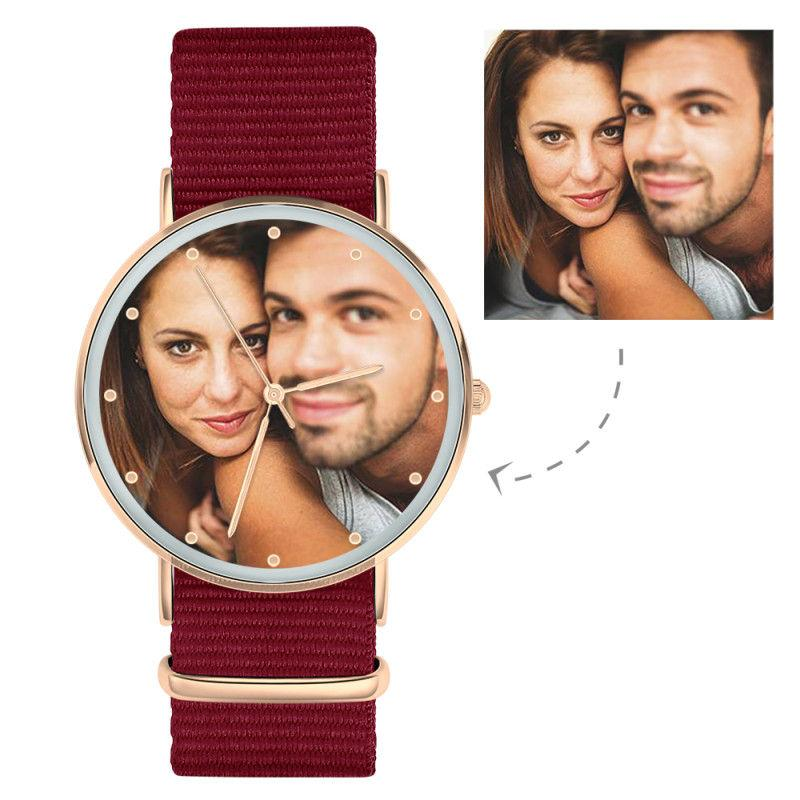 Personalized Engraved Watch, Photo Watch With Red Strap - Gift For Boyfriend