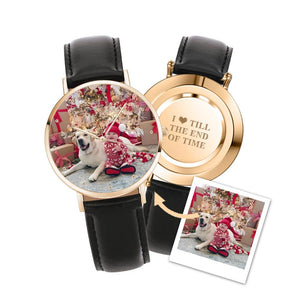 Custom Engraved Photo Watch With Black Leather Strap for Men & Women