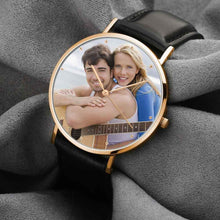 Load image into Gallery viewer, Custom Engraved Photo Watch With Black Leather Strap for Men & Women